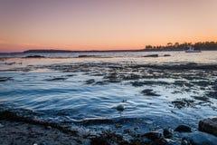 Заход солнца над заливом Linekin в гавани Boothbay, Мейне Стоковая Фотография