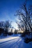 Заход солнца на земле снега Стоковое Изображение RF