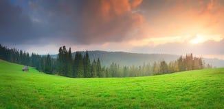 Заход солнца над зеленой долиной Стоковые Изображения RF