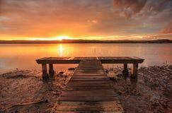 Заход солнца на зеленый этап NSW Австралия стоковые фото