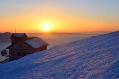 Заход солнца на горе Rigi, Швейцарии Стоковая Фотография
