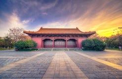 Заход солнца на имперском дворце династии Ming Стоковая Фотография RF
