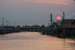Заход солнца на канале Стоковые Изображения RF