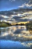 Заход солнца над каналом корабля Манчестера, Англия. Стоковое Фото