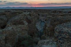Заход солнца над каньоном Sesriem, Sossusvlei, Намибией Стоковое Изображение