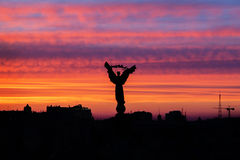 Заход солнца на квадрате независимости, Киеве Стоковая Фотография