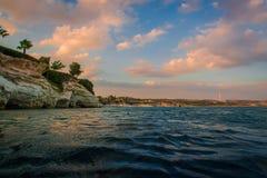 Заход солнца на Кипре Стоковая Фотография RF