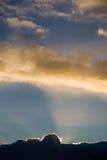 Заход солнца над Корнуоллом, Великобританией стоковая фотография rf