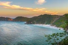 Заход солнца на кристаллических пляжах Pontal делает Atalaia Стоковое Изображение RF
