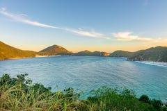 Заход солнца на кристаллических пляжах Pontal делает Atalaia Стоковые Изображения