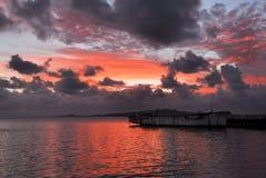 Заход солнца на Ла Rambla, в Монтевидео, Уругвай Стоковая Фотография