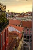 Заход солнца над Лиссабоном Стоковая Фотография