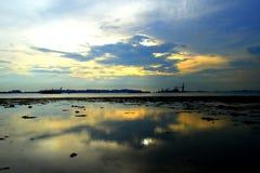 Заход солнца на малой воде Стоковая Фотография RF