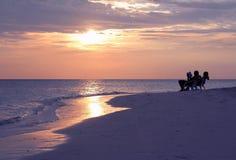 Заход солнца на Мальдивах Стоковые Изображения RF