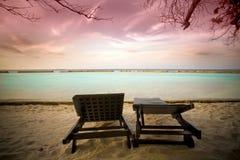 Заход солнца на Мальдивах Стоковое Изображение