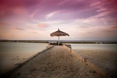 Заход солнца на Мальдивах Стоковые Изображения