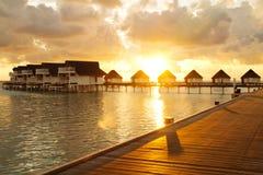 Заход солнца на Мальдивах Стоковое Изображение RF