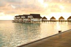 Заход солнца на Мальдивах Стоковые Фотографии RF