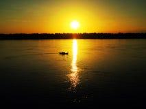 Заход солнца на Меконге, Kratie, Камбодже стоковая фотография
