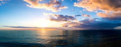 Заход солнца над Мексиканским заливом с западного побережья Флориды Стоковые Фото