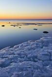 Заход солнца над морем в севере Стоковая Фотография