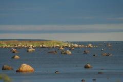 заход солнца над морем, живая природа севера Стоковые Изображения RF
