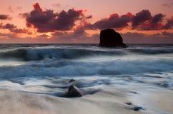 Заход солнца над морем Стоковое фото RF