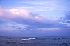 Заход солнца на море горизонт Стоковое Фото