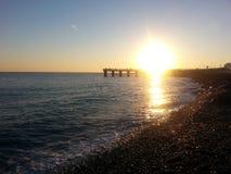 Заход солнца на море, залив Imereti, Adler, Сочи стоковые фото