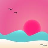 Заход солнца на море, иллюстрация Стоковые Фото