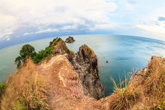 Заход солнца на море на имеемом Hin Ngam (красивом пляже) rok Lanta Стоковые Фотографии RF