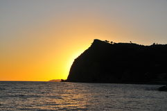 Заход солнца на море Стоковые Фото