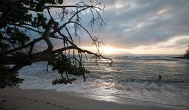 Заход солнца на море Стоковая Фотография