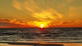 Заход солнца на морском побережье Стоковое фото RF