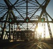 Заход солнца над мостом Стоковое Изображение