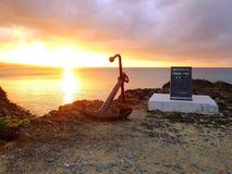 Заход солнца на накидке Busena Окинавы Стоковые Изображения RF