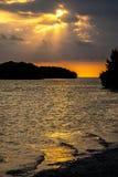 Заход солнца на национальном парке болотистых низменностей Стоковая Фотография