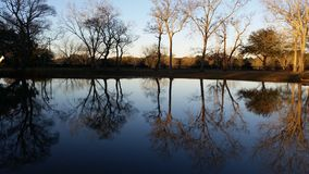 Заход солнца на нашем пруде стоковые изображения rf