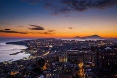 Заход солнца на Неаполь Стоковое Изображение RF