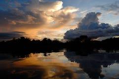 Заход солнца над негром Рио Стоковая Фотография