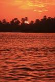Заход солнца над Нилом, Луксором стоковая фотография