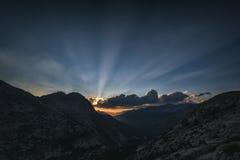 Заход солнца на озерах палисад, Калифорнии Стоковое Изображение