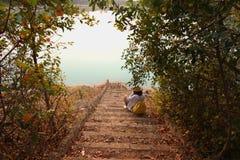 Заход солнца на озере в Таиланде Стоковое Изображение