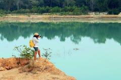 Заход солнца на озере в Таиланде Стоковая Фотография
