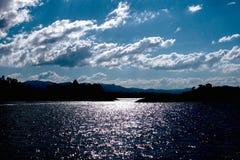 Заход солнца на озере Стоковая Фотография RF
