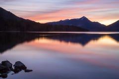 Заход солнца на озере Стоковое Изображение RF