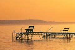 Заход солнца на озере Balaton стоковая фотография