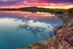 Заход солнца на озере Balkhash, Казахстане Стоковая Фотография