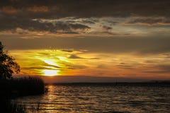 Заход солнца на озере Bodensee в Германии Стоковая Фотография