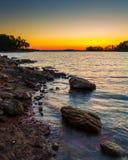 Заход солнца на озере Lanier Стоковое фото RF